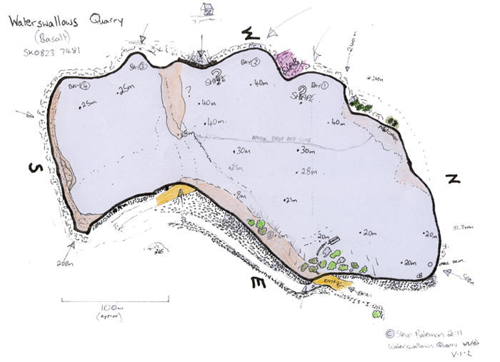 Waterswallows quarry dive map