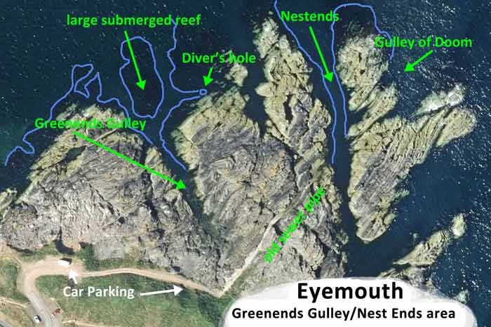 Green ends gully dive map